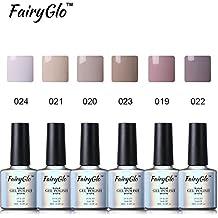 FairyGlo Kit de Uñas de Gel UV LED Manicura Semipermanente Nude Color 6pcs