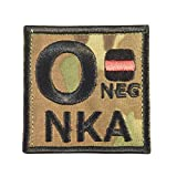 Multicam O NEG O- NKA Gruppo Sanguigno Embroidered Hook-and-Loop Toppa Patch