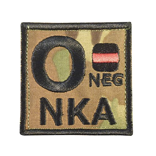 Image of Multicam O NEG O- NKA Blood Type Embroidered Hook-and-Loop Patch