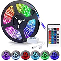 MR.3 led light strip 5m Color Changing 5050 Type Waterproof IP65 Led Strip Lights Kit with Remote &12V for Kitchen Bedroom Room Wall Party Home Decoration