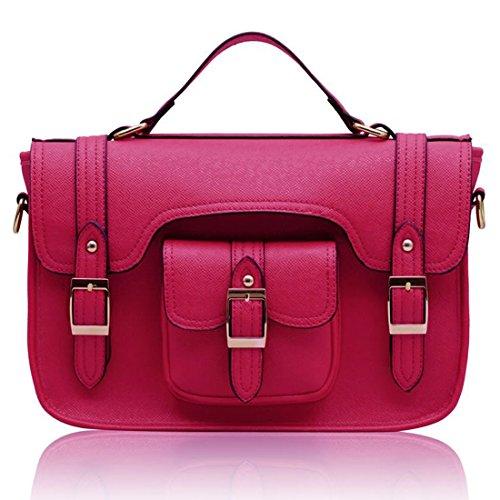 Zarla-Borsa in pelle sintetica da donna con tracolla, con fibbia e tracolla e tracolla lunga Rosa (rosa)