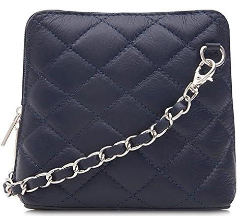 Handbag Bliss Italian Leather Quilted Designer Inspired Cross body Cross over Shoulder Bag (Navy Blue)