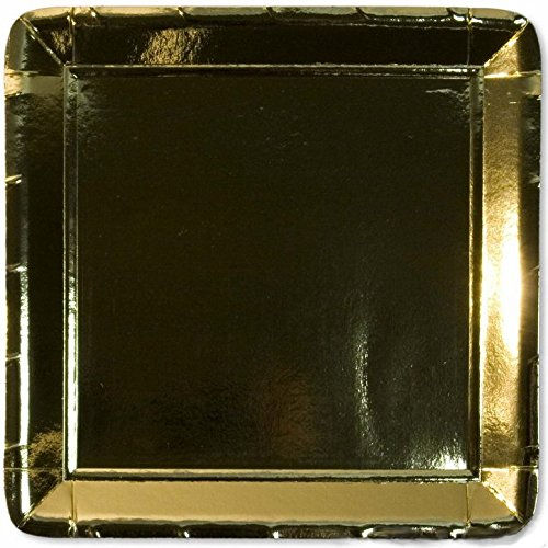 10 quadratische Platten 19 cm glänzend gold Papier