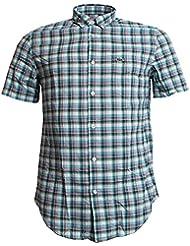 Lacoste Short Sleeve Check Shirt Green