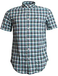 Lacoste Short Sleeve Check Shirt Green