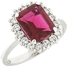 Anello in argento Sterling 925 Lady D Principessa Diana Kate Middleton con zircone rettangolare color rubino donna