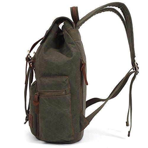 Vintage Rucksäcke,Kaukko Canvas Laptop Rucksack Damen Herren Schulrucksack Daypack Stylisch Backpack für Outdoor Wanderreise Camping mit Großer Kapazität (Grün 702-1) Army Grün
