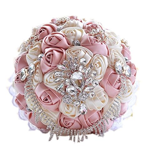 High-end custom princess tassel bouquet luxury rhinestone crystal brooch wedding bouquets holding flower with ribbon for bridal pink ivory