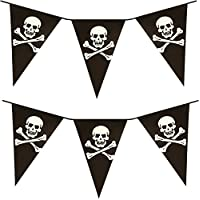 Value Twin Pack Black & White Colour Pirate Skull & Crossbones Pennant Bunting Indoor/Outdoor Party Decoration Banner Total Approx 22 Flags 24 Foot