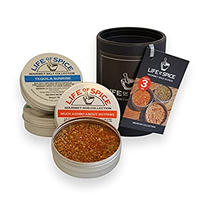 Life of Spice Mexican Collection - Gift Set of 3 Life of Spice Salts, BBQ Rubs and Herbs (75g/30g/20g) from Life of Spice