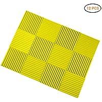 12 unidades de placas de espuma acústica de 30 x 30 x 2,5 cm, insonorización, ideal para el estudio doméstico B amarillo