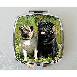 De perro de raza CARLINO diseño de espejo compacto Fun