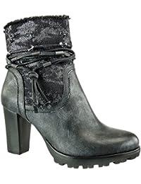 Angkorly - Zapatillas de Moda Botines cavalier bimaterial flexible mujer multi-correa fleco camuflaje Talón Tacón ancho alto 8 CM - Negro