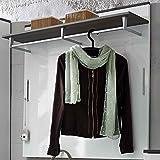 e-combuy Möbel Garderoben-Paneel in weiß Hochglanz/grau, 1 Boden mit Kleiderstange, 2 Klapphaken, Breite 100 c, Höhe 99 cm, Tiefe 30 cm