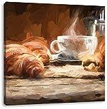 Pixxprint Tazza di caffè con cornetti Stampa su Tela 70x70 cm Artistica murale