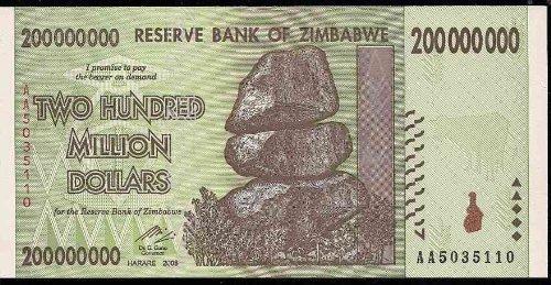 Zimbabwe 200 Million Dollar Bank Note 2008 Uncirculated By Reserve Bank of Zimbabwe