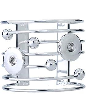 Soleebee Silberfarbe Click-Button Legierung Streifen Armband fit 5.5mm Druckknopf verstellbarer Armreif