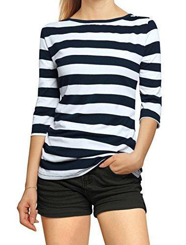 allegra-k-damen-halbelange-armel-kontrastfarbe-streifen-t-shirt-synthetisch-weissdunkelblau-5-elasth