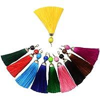Borlas de flecos Makhry, 10 unidades de 11,5 cm, hechas a mano con hilo sedoso, sirven como marcapáginas, cierre para joyas artesanas para mujer