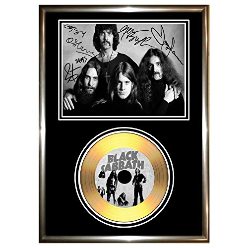 BLACK SABBATH, FIRMATA IN ORO CON DISCHI IN VINILE CD & PHOTO DISPLAY OZZY OSBOURNE