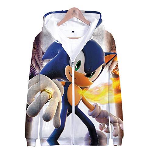 LEILEITX Unisex 3D Druck Männlich Weiblich Hoodie Kapuzenpullover Langarm Sweatshirt Kapuzenjacke Mit Taschen Reißverschluss Sonic The Hedgehog (Hedgehog Sonic The Halloween)