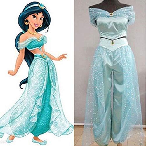 Greetuny Cosplay Princesse Jasmine Déguisement Princesse Costume Ensembles de Pantalons Décoré Paillette Set à épaule Nue de Danse Tenue Costume Outfit (Light blue, M)