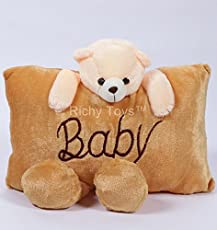 Richy Toys Baby Teddy Bear Pillow Stuffed Soft Plush Soft Toy (Brown)