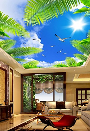 Vlies Tapete Wandbilder Custom Cd And The White Clouds In The Blue Sky Coconut Seabirds Sunshine Ceiling Ceiling Dome Top Wall Mount Creative Three-Dimensional Self Adhesive Canvas - Dome Wall Mount