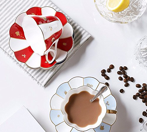 ZHGI Ceramica tazza da caffè set red piattino porcellana tazza