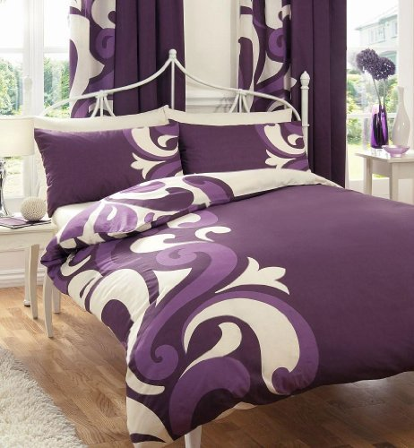SUPER KING SIZE – BERRY & CREAM PRINTED DUVET COVER BED SET by HOMEMAKER BEDDING