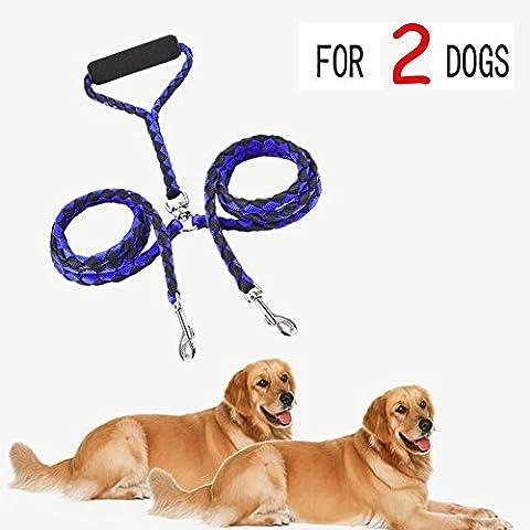 Candora™ Laisse double pour deux chiens Tressé, sans nœuds Résistance testée pour la promenade et le dressage de gros chiens 132,1cm Bleu