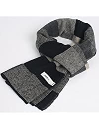 XIAOLIN-- Scarf Men 2017 Autumn and Winter High-end Big Plaid Pattern Gift Box Packaging 4 Colors --Outdoor warm scarf ( Color : B )