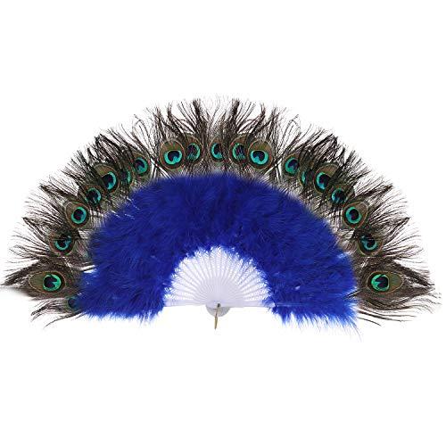 ArtiDeco Pfau Feder Fächer Schwarz Marabou Feder Fächer 1920s Vintage Stil Retro Handfächer Damen Gatsby Kostüm Flapper Zubehör (Blau)