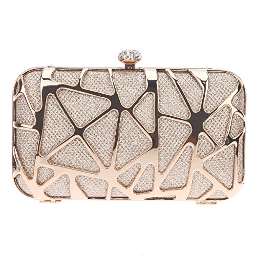 Bonjanvye Special Water Cube Box Evening Clutches Purses for Girls Purple Champagne