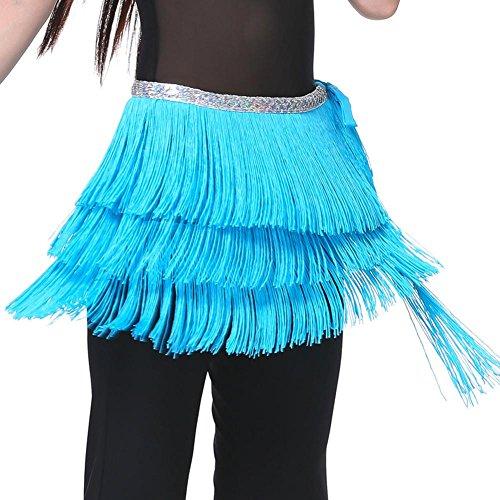 Tribal Für Dance Kostüm Verkauf - Byjia Dance accessories Lady's Bauchtanz Kostüm Hip Schal Gürtel Tribal Fringe Quaste Wrap Gürtel DREI Schichten/Packung Mit 2 / 11 F