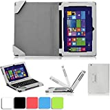 IVSO Toshiba Satellite Click Mini 8.9-Inch - 2-In-1 Leather Portfolio Stand Cover Case for Toshiba Satellite Click Mini 8.9-Inch laptop - Docking Keyboard NOT Included (White), [Importado de UK]