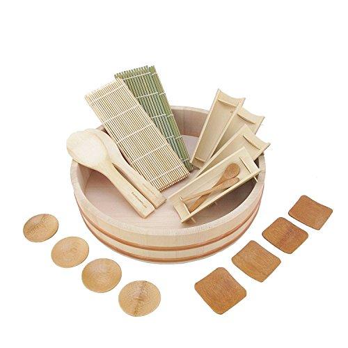 bamboomn Sushi Oke Badewanne (Hangiri) 19Stück Sushi-Zubehör Pack 13-Inch -