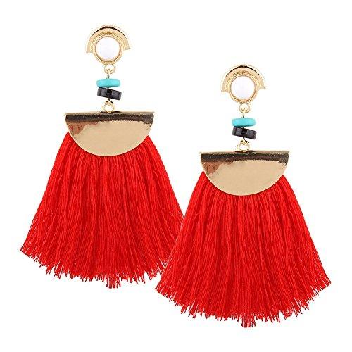 Leisial 1 Paare Damen Quaste Anhänger Ohrringe Lange Ohrhänger mit Quasten Ohrringe Rot 8*3CM