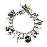 Lispeed Harry Potter Bracelet avec Breloques en Argent Motif Hibou et Ailes Satellite Spinne Mond Lunettes de Magie Bracelet Taille Unique
