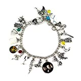 EisEyen Harry Potter Armband Set Charms Bettelarmband Anhänger Silber, Blitz, Eule, Flügel, Satellit, Spinne, Mond, Brille, Schlüssel, Zauberstab (1 Armband)