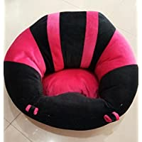 SANA Soft Plush Chair seat for Baby Safety Sitting Soft Soft Plush Chair for Kids Birthday (Black & Pink)