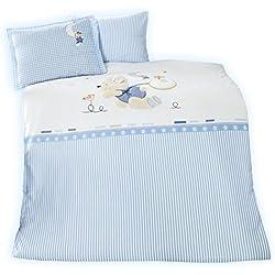 """sei Design Babybettwäsche De Luxe """"Bonnie"""" 100% Baumwolle mit Hochwertiger 3-D Bestickung/Applikation: Bettdeckenbezug 100x135 + Kopfkissenbezug 40x60 mit Reißverschluss."""
