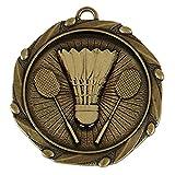 TPM Trading confezione da 50x 45mm (13/4inch badminton medaglie con nastro rosso, bianco e blu oro)