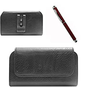 DMG Premium PU Leather Cell Phone Pouch Carrying Case with Belt Clip Holster for Intex Aqua Life II (Black) + 4in1 Laser Torch Stylus Pen