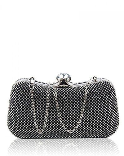 LeahWard Frauen Sparkly Abend Clutch Bag Geldbörse für Prom Party CWE286 (Nude Hochzeitsgeldbeutel) Schwarz Diamant