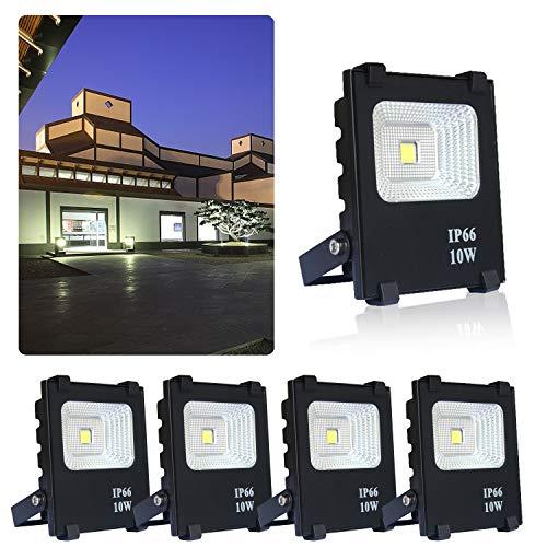 AUFUN 5er 10W LED fluter scheinwerfer kaltweiß - LED außenstrahler sicherheitsleuchte schwarz wasserdicht IP66 (5x10W kaltweiß)