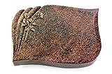 Generic Grabplatte, Grabstein, Grabkissen, Urnengrabstein, Liegegrabstein Modell Eterna 40 x 30 x 7 cm Paradiso-Granit, Poliert inkl. Gravur (Bronze-Ornament Rose 10)