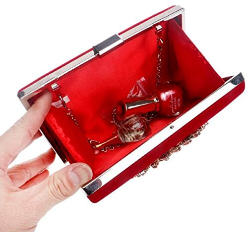 2017 Neu Damen Handtasche Diamant Hochwertig Vorzüglich Abendtasche Handtasche Diagonal Paket Handtasche Brautbeutel Red