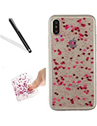 Crystal Clear Case for iPhone X,Glitter Sicone Case for iPhone X,Leeook Pretty Special Shiny Glitter Rose Red Love Heart Bling Slim Fit Soft Gel Flexible Bumper Protective Transparent Back Scratch-resistant Tpu Bumber Shell Skin Cover for iPhone X + 1 x Black Stylus-Love Heart,Rose Red
