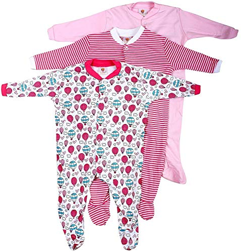 EIO® Mini Berry Long Sleeve Cotton Sleep Suit Romper Set of 3 for Girls (12-18 Months)